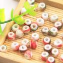 Beads, Porcelain, Green , Red , Round shape, 6.5mm x 6.5mm x 5.5mm, 10 Beads, [TCZ0048]